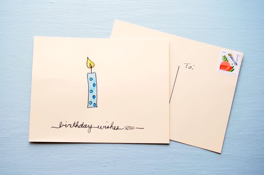 Super easy diy watercolor birthday cards cha ching on a shoestring one sheet of cardstock creates four cardsgood deal huh and theres still a space to write a lovely happy birthday note bookmarktalkfo Image collections