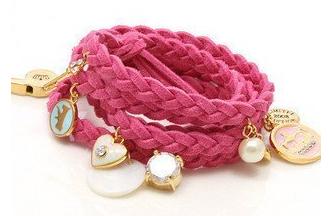 pink woven bracelet