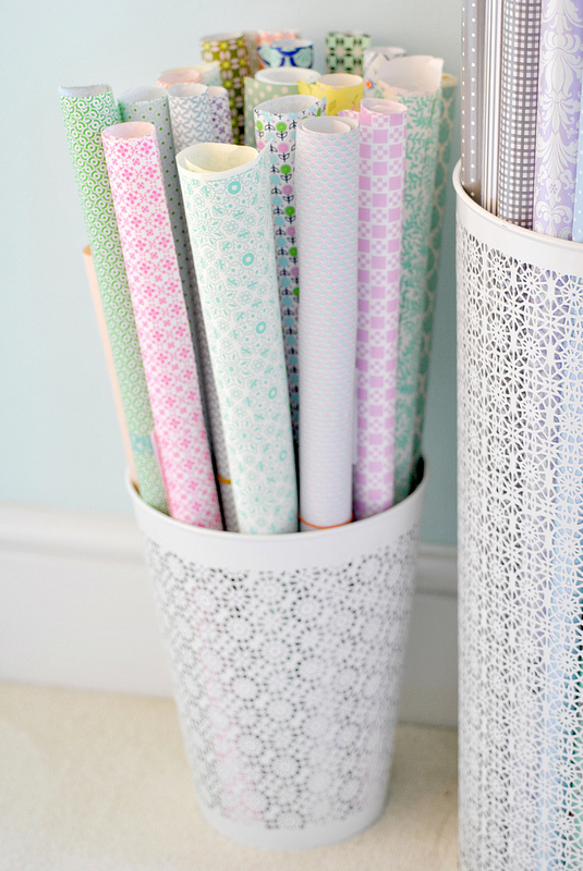 organized wrapping paper