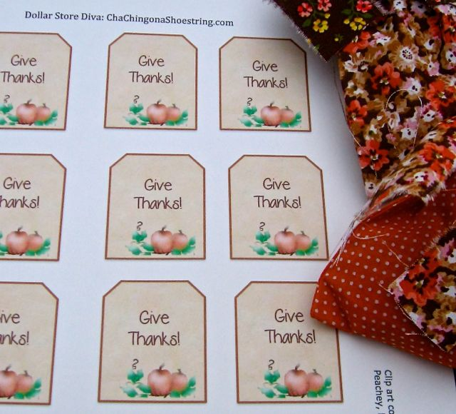 Give Thanks Goody Bag Tags