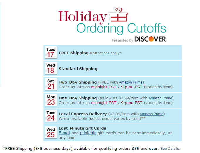 Amazon Christmas Shipping Deadlines 2013