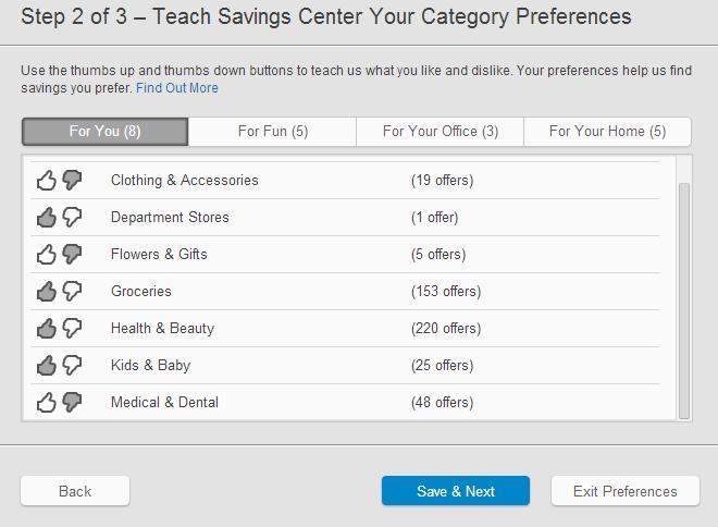 HP Savings Center Coupon Preferences