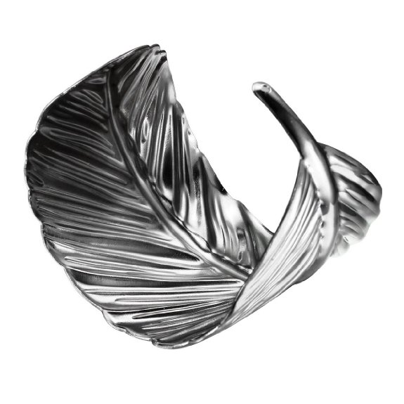 feather metal cuff bracelet