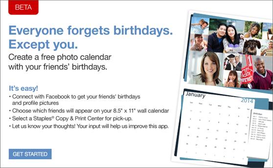 staples free calendar