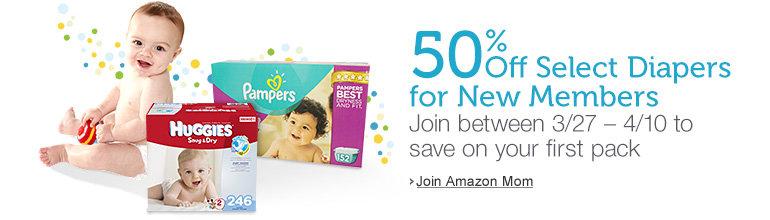 Amazon Mom 50% off Diapers