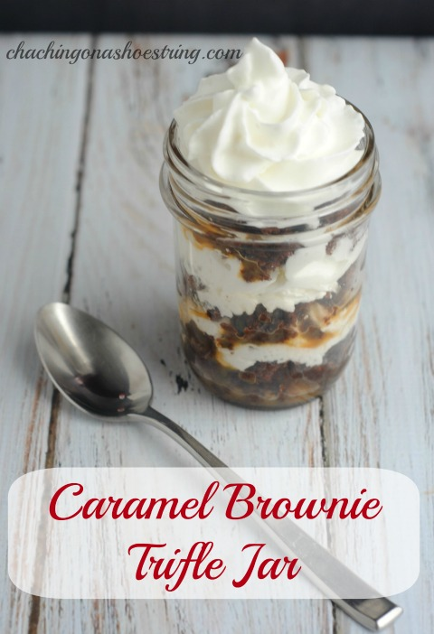 This Caramel Brownie Trifle Jar recipe is the perfect FUN and easy recipe for the summer! This is a must try!
