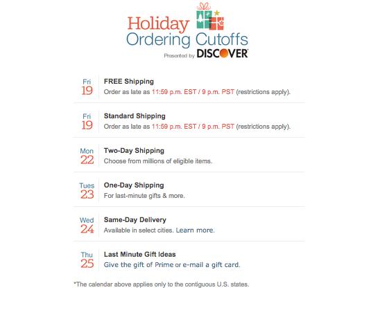 Amazon Shipping Deadlines 2014