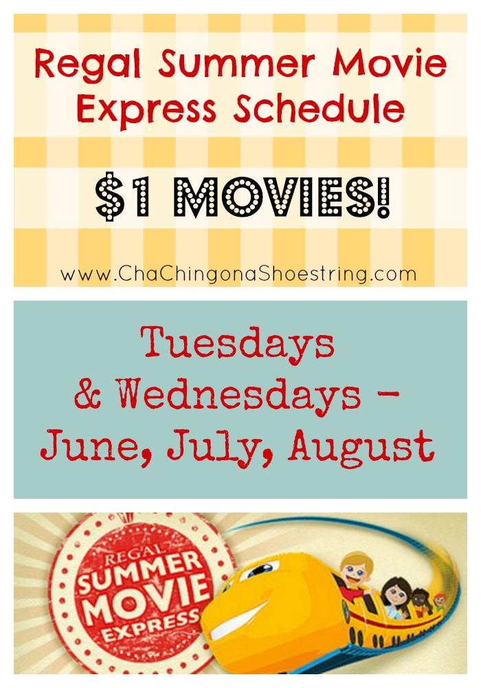 Regal Summer $1 Movies Schedule 2016