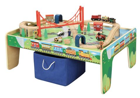 Wooden 50-Piece Train Set with...