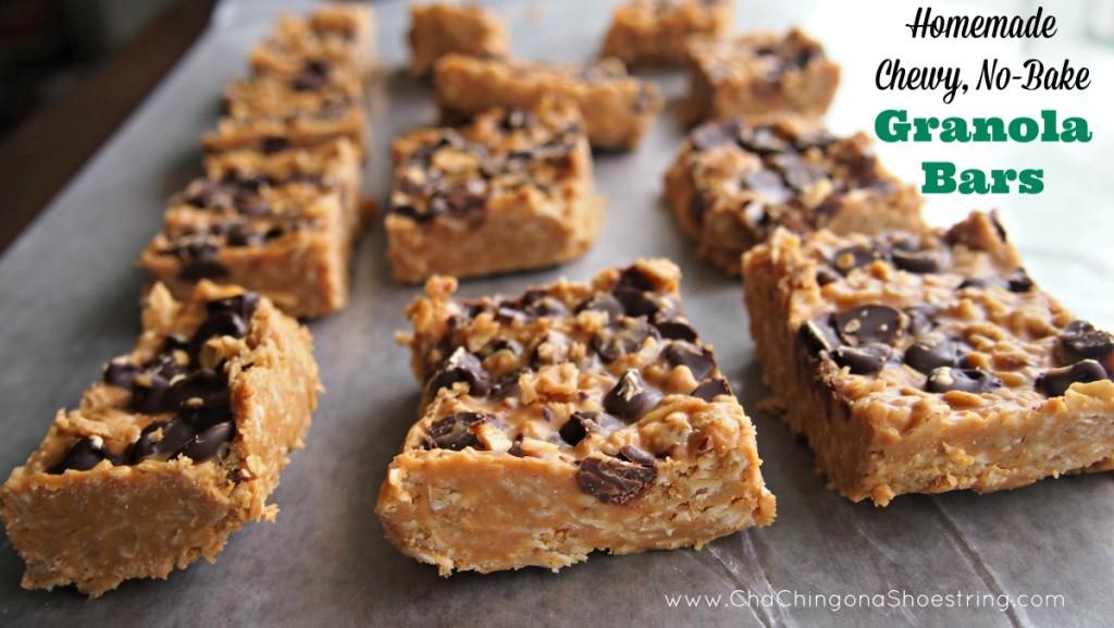 Homemade No-Bake Chewy Granola Bars - SO good!