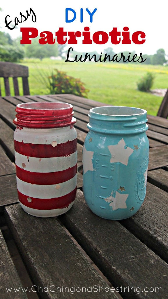 Easy DIY Mason Jar Patriotic Luminaries