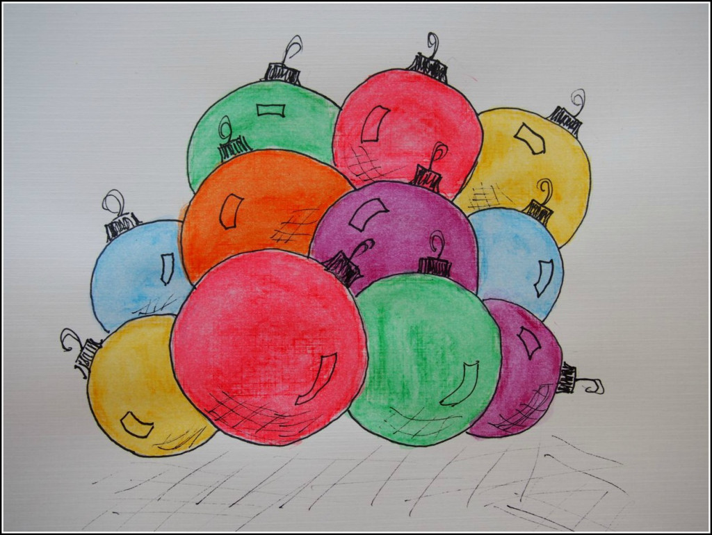 Watercolor Christmas Bulbs