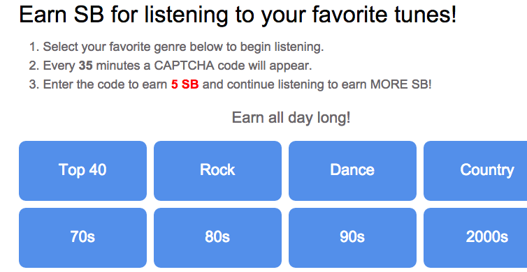 How to earn SB for Radio Loyalty