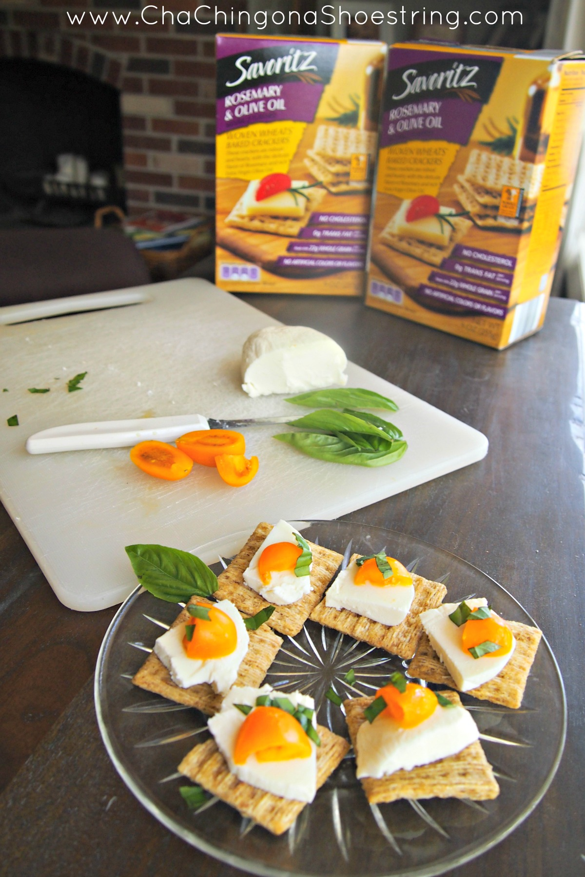 Caprese Bites with Rosemary and Olive Oil Crackers