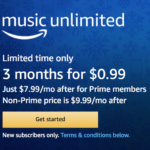Amazon Music Unlimited: 3 Month Subscription for $0.99